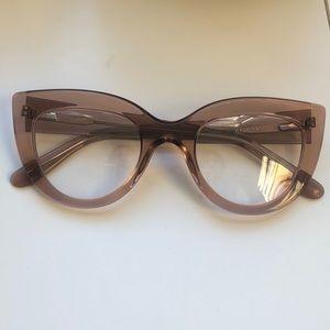Soft pink acetate retro cat eye glasses